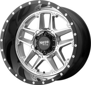 4 new 22 Moto Metal Mo987 Sentry Wheels 22x10 5x5 5x127 18 Silver Black Lip Ri