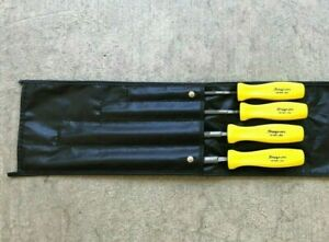 Nos Rare Snap On Tools Yellow Handled 4 Pc Hbf200y Round File Set W Black Pouch