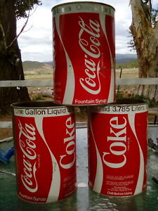 lot of 3 Coca-Cola Syrup opened 1 Gallon Metal Cans