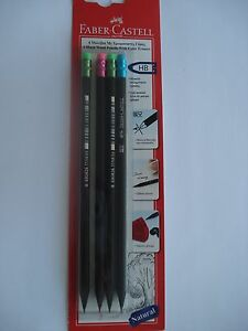 Faber castell 4x Natural Black Wood Pencils With Color Erasers