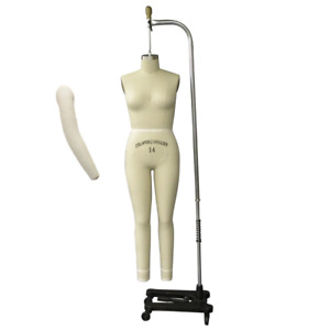 Pro Female Full Body Dress Form With Legs And Collapsible Shoulders Size 14