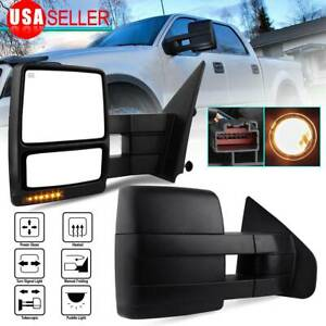 Pair For 2007 2014 Ford F150 Tow Mirrors Puddle Led Turn Signals Power Heated
