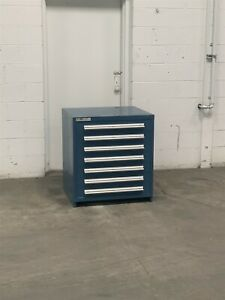 Used Stanley Vidmar 7 Drawer Cabinet 33 Inch High Industrial Tool Storage 2203