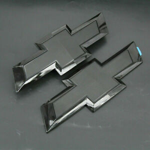 Gloss Black Front Tailgate Bowtie Emblem For 2016 2019 Gm Chevy Silverado 1500