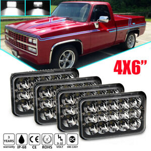 4pcs 4x6 Black Led Headlights Sealed Hi lo Beam For Chevy C10 C20 K20 K30 G30