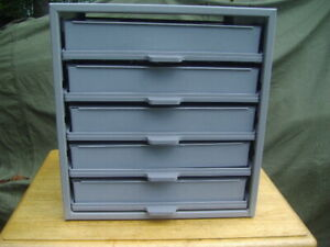 New hillman Hardware Parts Storage Cabinet 5 Drawer Organizer grey Bins
