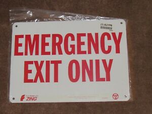 Business Signs emergency Exit Only 10 X 14 Metal Recycled Aluminum