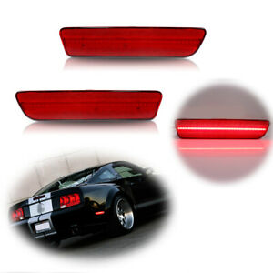 1set Red Led Rear Bumper Side Marker Indicator Lights For 2005 2009 Ford Mustang