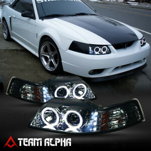 Fits 1999 2004 Ford Mustang dual Halo led Drl Smoke amber Projector Headlight