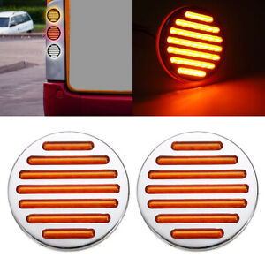2x Led Amber 4 Round Stop Tail Turn Signal Light Truck Tractor Trailer Bus 12v