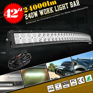Curved 42inch 240w Led Light Bar Flood Spot Roof Driving Truck Rzr Suv 4wd 44