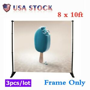 3pcs 8x10ft Step Repeat Adjustable Trade Show Backdrop Telescopic Banner Stand