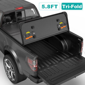 Tri fold 5 8ft Hard Truck Bed Tonneau Cover For 2009 2019 Ram 1500 Truck W Lamp