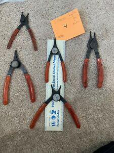 Snap On 1 Matco 5 Piece Assorted Red Grip Snap Ring Assorted Pliers