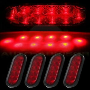 4x 6 Oval Red 10led Reverse Backup Trailer Truck Tail Light High Low Brightness
