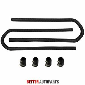 Universal Black 44 Chrome Stainless Steel Heater Radiator Hose W Caps Kit Set