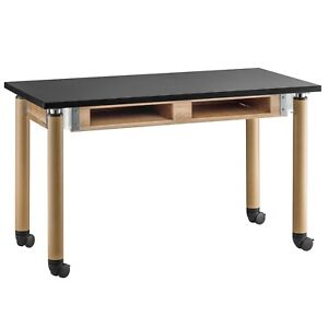 Nps Height Adjustable Mobile Science Lab Table Desk Oak Legs Compartments