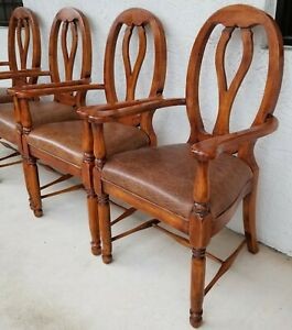 Set Of 4 Lorts Mfg Solid Wood French Country Leather Seats Dining Armchairs