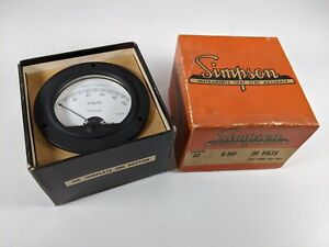 Vtg Nos New Simpson Electric Volt Panel Meter 100v Dc 3 5 Inch Round In Box