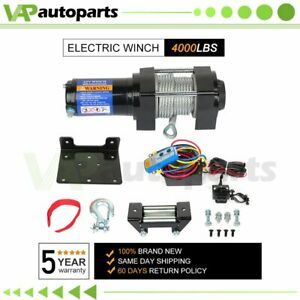 4000lbs 12v Truck Trailer Electric Winch Atv Utv Steel Cable W Wireless Remote