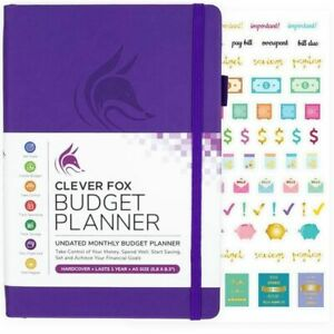 Clever Fox Budget Undated Monthly Planner Organizer Hardcover A5 Size Purple New