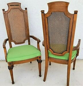 Pair Of Vintage Italian Provincial Cane Back Accent Dining Armchairs