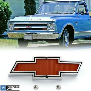 1967 1968 Chevy Truck Red Chrome Plated Bowtie Grill Emblem Badge Licensed New