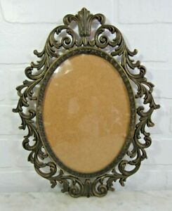 Vintage Brass Ornate Metal Oval Picture Frame Convex Bubble Dome Glass 13 5x10 5