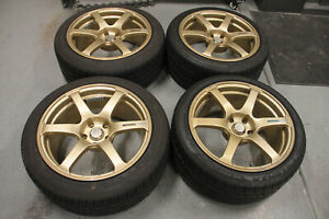 18 Advan Avs Model T6 Wheels 18x9 35 Square 5x114 3 Gold Jdm Gtr Wrx Sti Evo