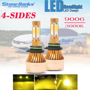 4side Led Headlight Kit Hb4 9006 110w 3000k Yellow 22000lm Light Bulbs Pair