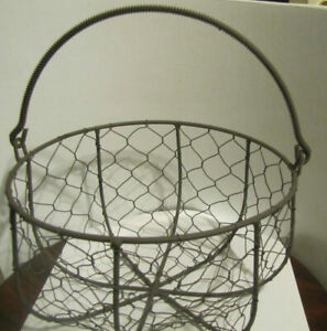 Vintage French Wire Egg Or Garden Gathering Basket Twisted Wire 8 1 2 X 4 1 4