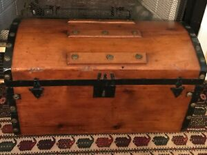 1872 Antique Dome Top Steamer Trunk Chest