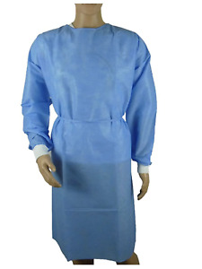10 pk Medical Dental Isolation Gown With Knit Cuff Large Size Gowns Blue