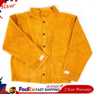 Cowhide Flame resistant Leather Welding Jacket Welder Protective Clothing L 3xl