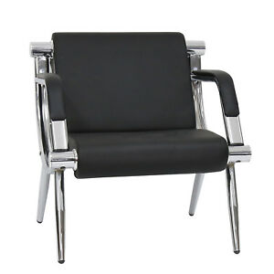 Black Seat Office Guest Chair Bank Bench Reception Barber Waiting Room Hospital