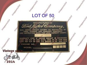 50x Acid Etched Brass Brand New vintage Ford Truck Weight Data Plate 1940s 1950s