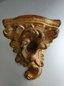 Vintage Small Wall Sconce Gold Antique Wood Gilt Beautiful