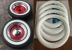 15 Tire 2 Wide White Side Wall Tire Walls Trim Set Of4 Hot Rod Custom Car