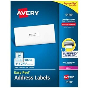 Avery Easy Peel Address Labels 1 X 2 5 8 3 000 Labels 5160