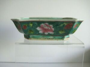 Antique Chinese Famille Rose Porcelain Turquoise Rectangle Bowl Hand Painted