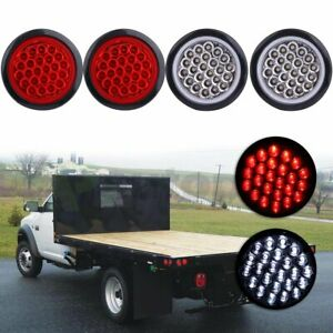 4x 4 Round 24 Led Tail Light Reverse Backup Lamp Red White For Truck Trailer