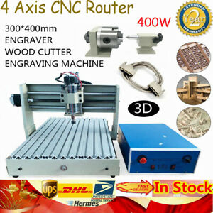 4 Axis 3040 Cnc Router 400w Engraver Pvc Pcb Engraving Mill Drill Machine