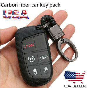 Carbon Style Key Fob Cover Tpu Case For Jeep Compass Dodge Charger Chrysler 300