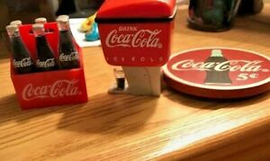 Coca Cola Magnets:   Three Magnets - Coke Dispenser  Carton and  a Wooden Magnet