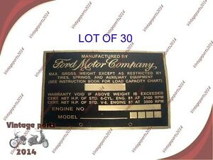 30xacid Etched Brass Brand New vintage Ford Truck Weight Data Plate 1940s 1950