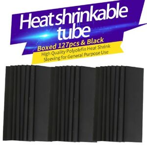 Wire Electrical 127pcs Heat Shrink Tubing Kit Sleeving Tube Black Assortment Ca
