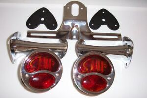 1928 1931 Model A Ford Light Kit Stainless Lights With Glass Lens Stop Script