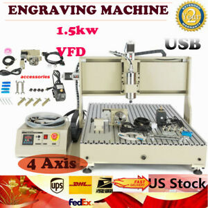 Usb 4 Axis Cnc 8050 Router Engraver 1 5kw Vfd Milling Wood Working Machine