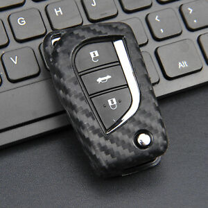 Silicone Carbon Fiber Car Flip Key Case Cover For Toyota Camry C Hr 2018 2020