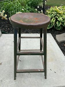 Vintage Shop Stool Metal Machine Age